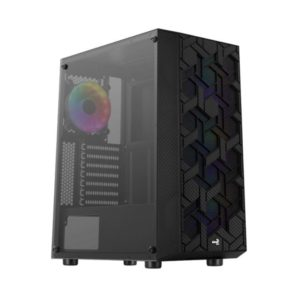 Caja Semitorre Aerocool Hivebk - 2*Usb3.0 - Usb2.0 - Hd Audio+Mic - Panel Lateral Cristal Templado - Gpu Hasta 317Mm - 4*Ventiladores Frgb 12Cm - Atx