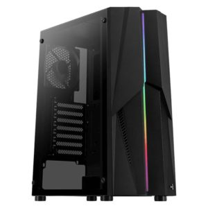 Caja Semitorre Aerocool Mecha Black - 2*Usb3.0 - Audio Y Microfono Hd - Gpu Hasta 302Mm - Panel Lateral Transparente - Frontal Rgb Led - Atx