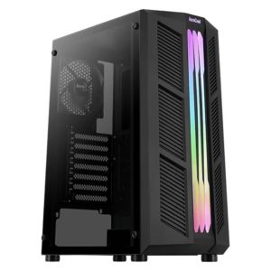 Caja Semitorre Aerocool Prime Black - 2*Usb3.0 - Audio Y Microfono Hd - Gpu Hasta 302Mm - Panel Lateral Transparente - Frontal Rgb Led - Atx