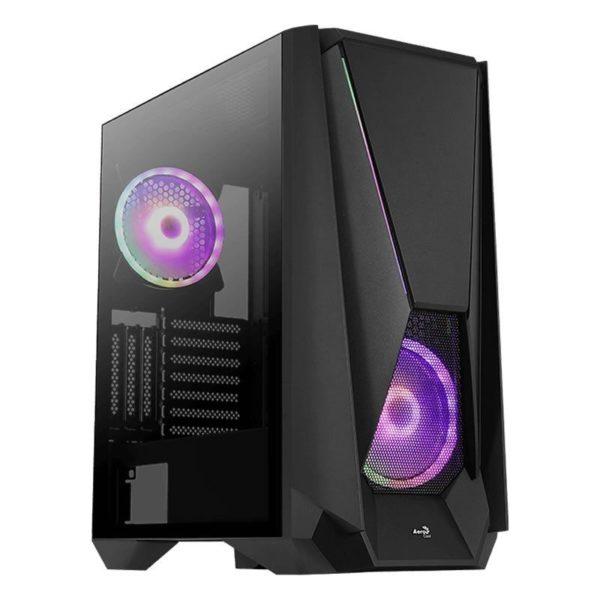 Caja Semitorre Aerocool Visor Black - 2*Usb3.0 - Audio Y Microfono Hd - Gpu Hasta 387Mm - Panel Lateral Transparente - Frontal Rgb Led - E-Atx
