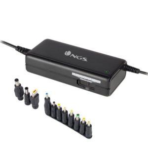 Cargador universal de portátil ngs ban - selección manual de voltaje 12-20 v - 90w - led de conexión - 11 conectores
