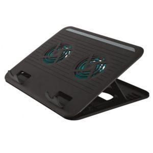 Soporte refrigerador trust cyclone 2xventiladores 8xniveles ajustables para portátiles hasta 16' / 40.64cm alimentado x usb